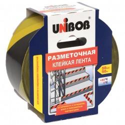 Лента клейкая разметочная 50мм*50м желто-черная UNIBOB