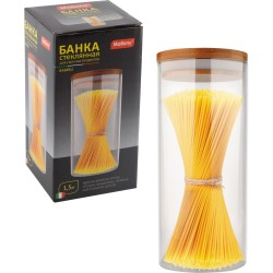 Банка для сыпучих продуктов 1,5л BAMBU Mallony стекло с крышкой 004446