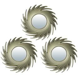 "Комплект декоративных зеркал ""Плезир"" QWERTY 3шт d8cм золото 74049"