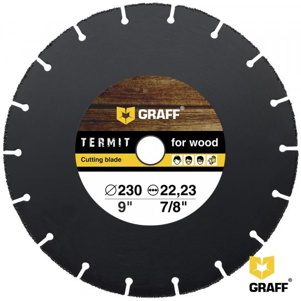 диск отрезной по дереву для ушм, 230*2*22.23, graff termit230 диск graff termit 125 отрезной по дереву для ушм 125x22 23mm