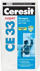Затирка для узких швов Ceresit СЕ 33, цвет натура, 2 кг
