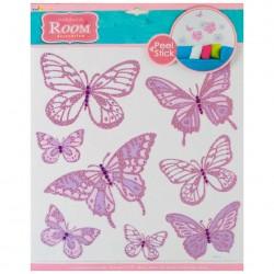 Стикер 7709 Бабочки со стразами сирен. 305*305мм
