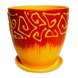Горшок керамический Этно (желтый) № 4 Высокий овал 18см