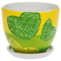 Горшок керамический Биколор (зеленый) № 3 Овал 15см
