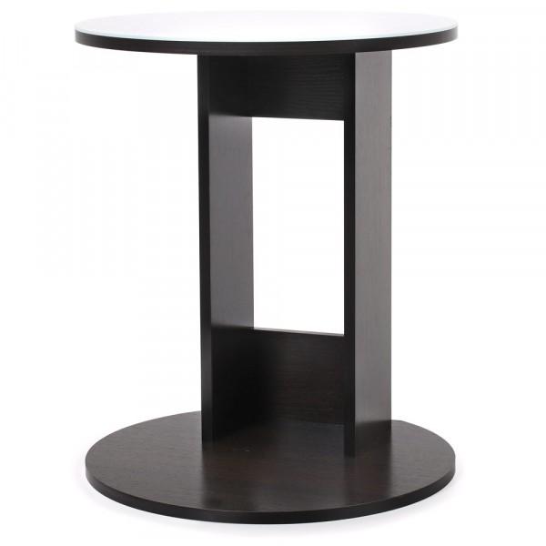 стол кофейный милк 0,47*0,5*0,615 лдсп печать (белая печать+венге темный)