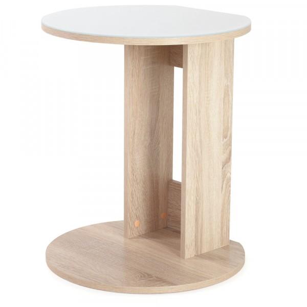 стол кофейный милк 0,47*0,5*0,615 лдсп печать (белая печать+дуб сонома)