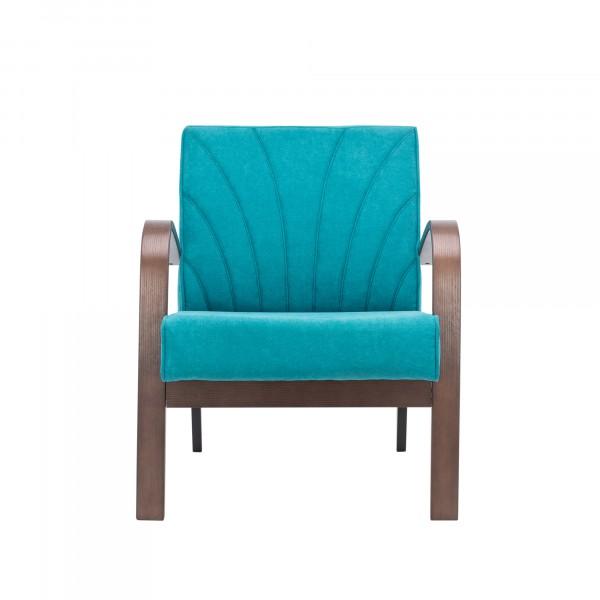 кресло классическое комфорт шелл 73х62см орех, ткань голубой