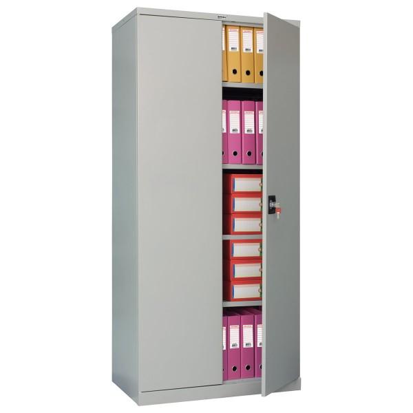шкаф металлический офисный brabix mk 18/91/37,1830х915х370 мм, 45 кг, 4 полки, разборный,291135