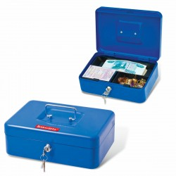Ящик для ценностей Brauberg 90х180х250 мм, ключевой замок, синий 290335