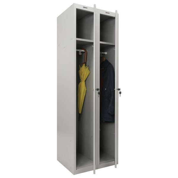 шкаф металлический для одежды brabix lk 21-60, усиленный,2 секции,1830х600х500 мм,32 кг,291126