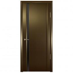 Полотно дверное Веста 01 ДО 600 эко шпон, венге, глянец черное стекло