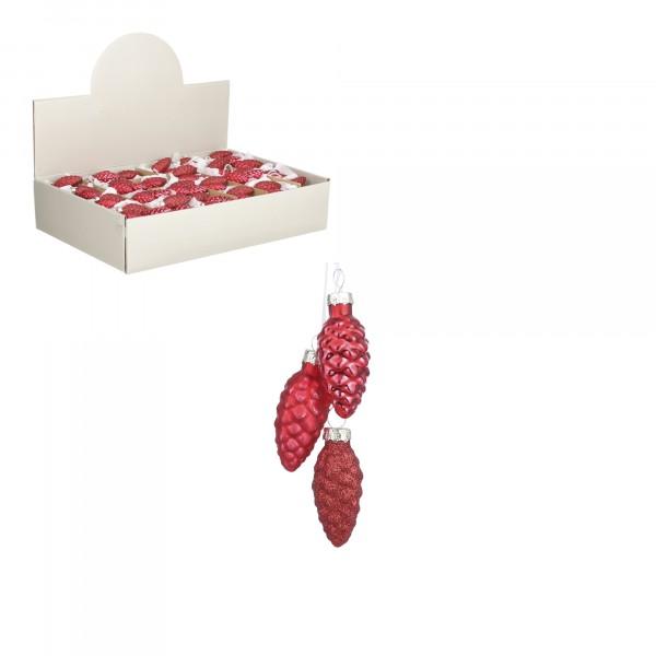 украшение подвесное связка из 3 шишек 6*3см house of seasons красный 84737