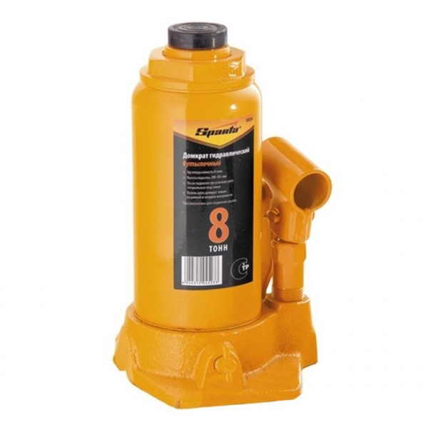 домкрат гидравлический бутылочный 8т h200-385мм sparta 50324