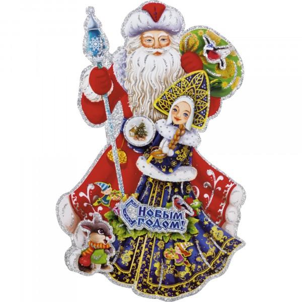 наклейка дед мороз со снегурочкой волшебная страна 003218 волшебная страна световое панно дед мороз на упряжке 20 ламп 44 5х24 см волшебная страна