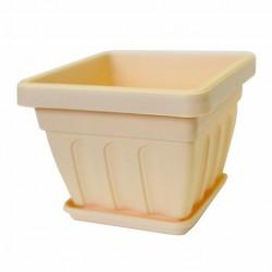 Горшок пластиковый для цветов Ирис квадратный mix 2,4 с поддоном