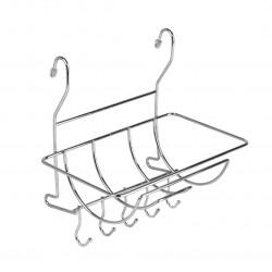 Полка на рейлинг для полотенец, с крючками, хром