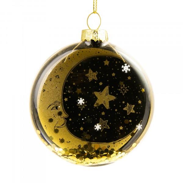 украшение новогоднее подвесное 2,5х8,5х8см месяц и звезды magic time стекло 81799