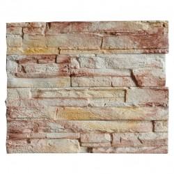 Камень интерьерный Известняк белый с желто-коричневым мрамором