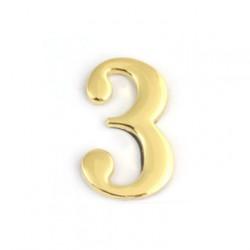 Цифра дверная самоклеящаяся золото 2d 1-003 (тройка)