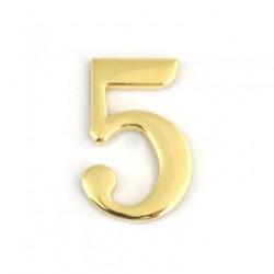Цифра дверная самоклеящаяся золото 2d 1-005 (пятерка)