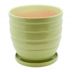 Керамический горшок с подставкой, 4,7л., д210 ш210 в200, зеленый