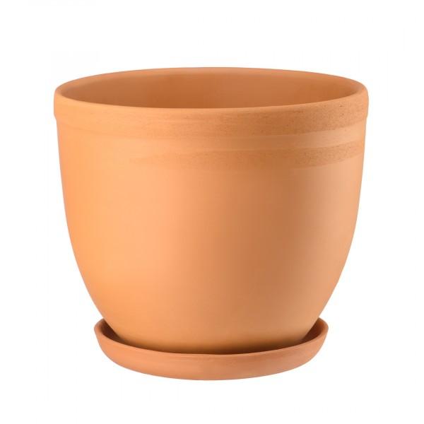 керамический горшок с подставкой, 4л.,терракотовый