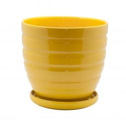 Керамический горшок с подставкой, 4,7л., д210 ш210 в200, желтый