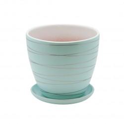 Керамический горшок с подставкой, 1,4л., д145 ш145 в130, голубой
