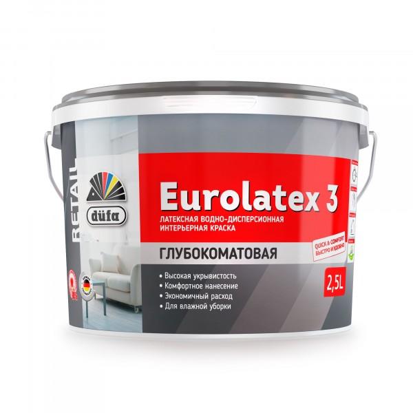 краска в/д dufa retail eurolatex 3 2,5л гостиные