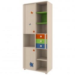 Шкаф для книг с декор. элементами МДК4.13 дуб белфорд/оранж,синий,эвкалипт №106 (0,874*0,455*2,186)