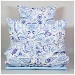 Комплект постельного белья Семейный Монель Персидский узор голубой, серо-голубой