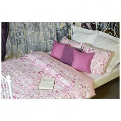 Комплект постельного белья Семейный Монель Персидский узор розовый