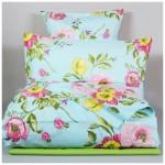Комплект постельного белья Семейный Монель Прованс на голубом, зеленый