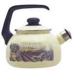 Чайник эмалированный 2,5л с бакалитовой ручкой, со свистком ЛАВАНДА 2405/129646