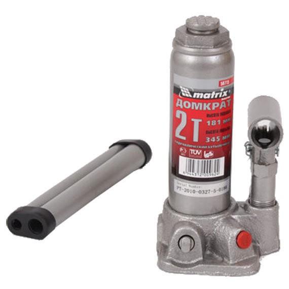 домкрат гидравлический бутылочный 2т h181-345мм matrix 50715