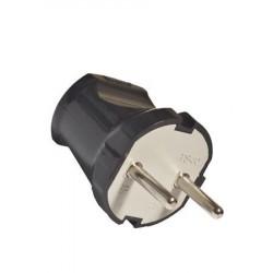 Вилка электрическая б/з 6А 250В черная Универсал A0113