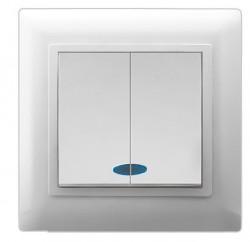 Выключатель 2кл Magenta с/у с подсветкой белый V01-11-V22-S