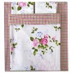 Комплект постельного белья Евро поплин (полный) Прованс мелкий цветок (061) Прованс клетка (061)