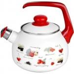 Чайник эмалированный 2,5л ЯГОДЫ со свистком, форма Таково METROT 132351