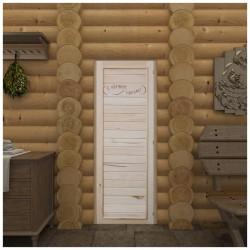 Дверь для сауны DoorWood с надписью 750*1850мм, глухая, вагонка эконом, утеплитель фольга