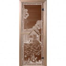 Дверь для сауны DoorWood 700*1900мм, стекло бронза, рисунок Банька в лесу ,коробка хвоя DW01350