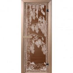 Дверь для сауны DoorWood 700*1900мм, стекло бронза, рисунок Березка ,коробка хвоя DW01351