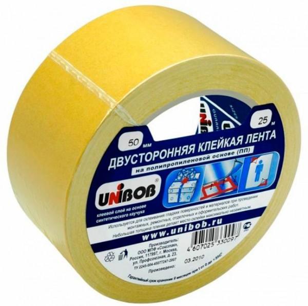 лента двухсторонняя пленочная 50мм*10м unibob клейкая лента brauberg 600480 50мм x 25 м двухсторонняя основа полипропилен