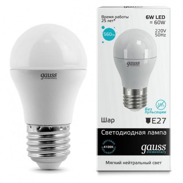 лампа светодиодная gauss led elementary шар 6w e27 450lm 4100k