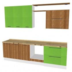 Кухня МДФ Гринвуд/бамбук, зеленое яблоко /белый/травертин римский /0,6*3,0*2,4/