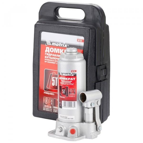 домкрат гидравлический бутылочный 5т в кейсе h216-412мм matrix 50756