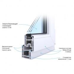 Блок оконный ПВХ 650*1400 Rehau Evro 60-3, Фурнитура WinkHaus Propilot , пов/от ,