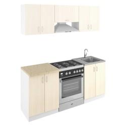 Кухня 1,8м ЛДСП Лиственница 214 /белый/ оникс серый 28мм (1,8*0,6*2,1)