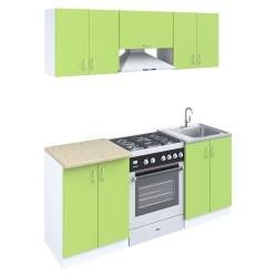 Кухня 1,8м ЛДСП Зеленый 764 /белый/ оникс серый 28мм (1,8*0,6*2,1)