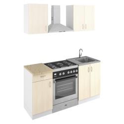 Кухня 1,0м ЛДСП Лиственница 214 /белый/ оникс серый 28мм (1,0*0,6*2,1)